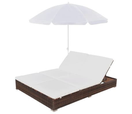 vidaXL Outdoor Lounge Bed with Umbrella Poly Rattan Brown[4/10]