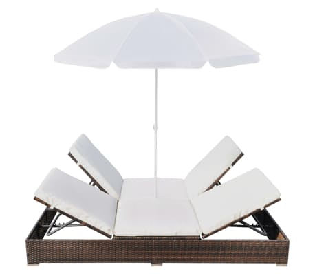 vidaXL Outdoor Lounge Bed with Umbrella Poly Rattan Brown[5/10]