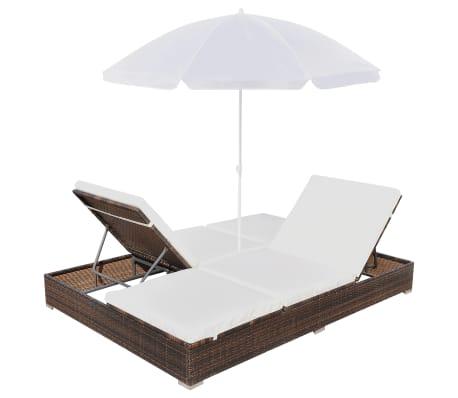 acheter vidaxl chaise longue avec parasol r sine tress e marron pas cher. Black Bedroom Furniture Sets. Home Design Ideas