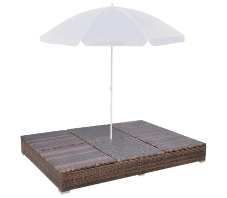vidaXL Outdoor Lounge Bed with Umbrella Poly Rattan Brown[7/10]