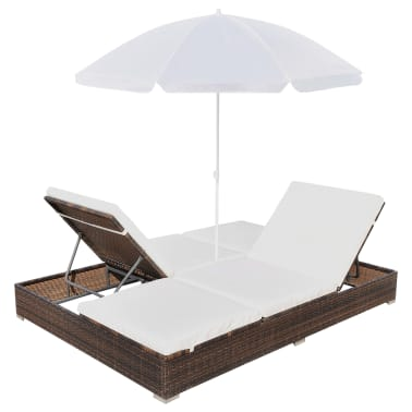 vidaXL Outdoor Lounge Bed with Umbrella Poly Rattan Brown[6/10]