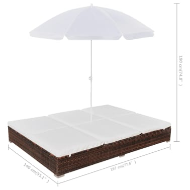 vidaXL Outdoor Lounge Bed with Umbrella Poly Rattan Brown[9/10]