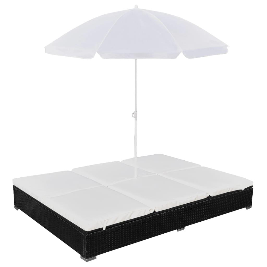 vidaXL Pat șezlong de exterior cu umbrelă, negru, poliratan imagine vidaxl.ro