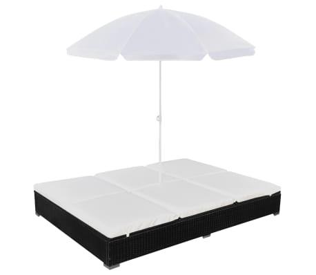 vidaXL Pat șezlong de exterior cu umbrelă, negru, poliratan