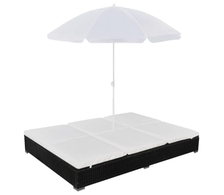 vidaXL Outdoor Lounge Bed with Umbrella Poly Rattan Black[2/10]