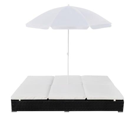vidaXL Outdoor Lounge Bed with Umbrella Poly Rattan Black[3/10]