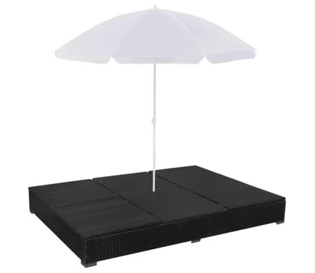 vidaXL Outdoor Lounge Bed with Umbrella Poly Rattan Black[7/10]