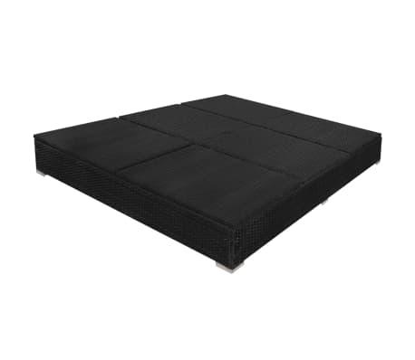 vidaXL Outdoor Lounge Bed with Umbrella Poly Rattan Black[8/10]