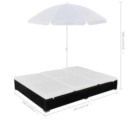 vidaXL Outdoor Lounge Bed with Umbrella Poly Rattan Black[9/10]