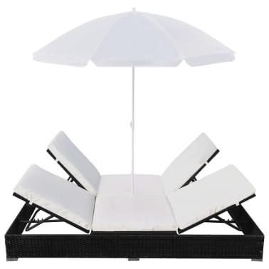 vidaXL Outdoor Lounge Bed with Umbrella Poly Rattan Black[5/10]