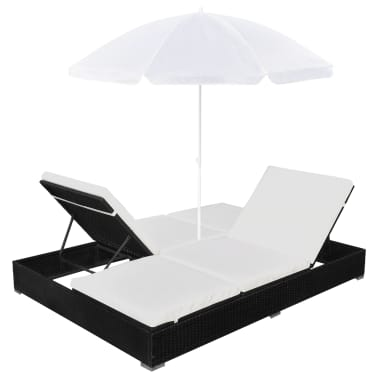 vidaXL Outdoor Lounge Bed with Umbrella Poly Rattan Black[6/10]