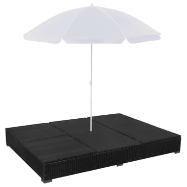 vidaxl chaise longue avec parasol r sine tress e noir. Black Bedroom Furniture Sets. Home Design Ideas