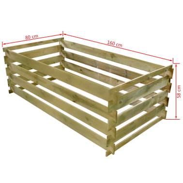 vidaxl bac de compostage lattes bois de pin impr gn 160 x 80 x 58 cm. Black Bedroom Furniture Sets. Home Design Ideas