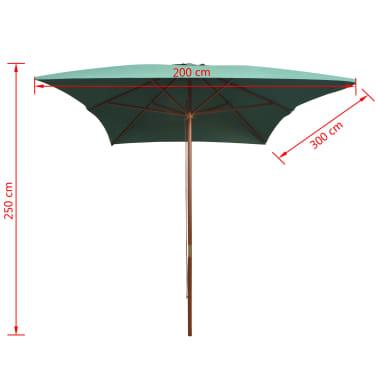 vidaXL parasol 200 x 300 cm træstang grøn[6/6]