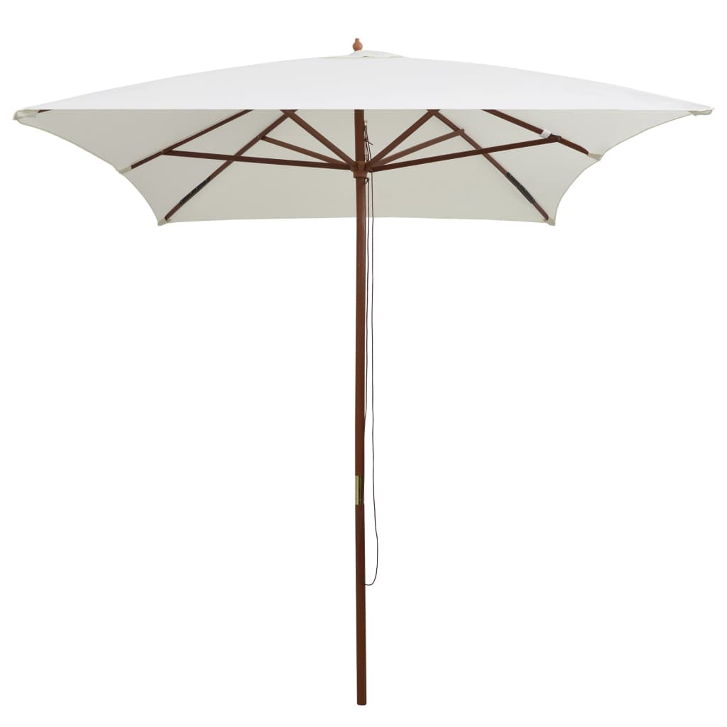 vidaXL Parasol met houten paal 200x300 cm crèmewit