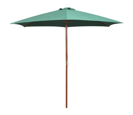 vidaXL Guarda-sol com mastro em madeira 270x270 cm verde[1/6]