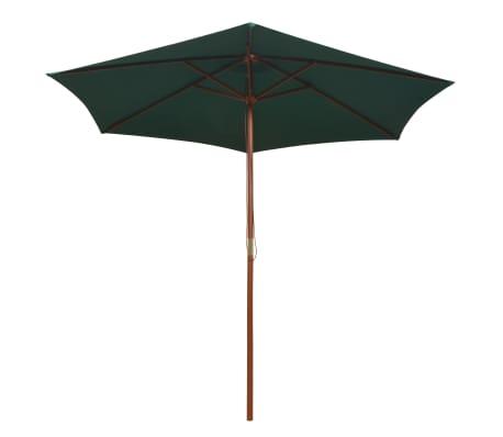 vidaXL Guarda-sol com mastro em madeira 270x270 cm verde[2/6]