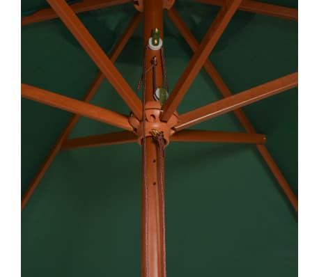 vidaXL Guarda-sol com mastro em madeira 270x270 cm verde[4/6]