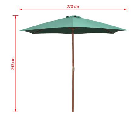 vidaXL Guarda-sol com mastro em madeira 270x270 cm verde[6/6]