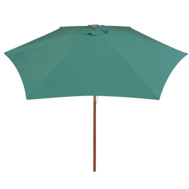 vidaXL Guarda-sol com mastro em madeira 270x270 cm verde[3/6]