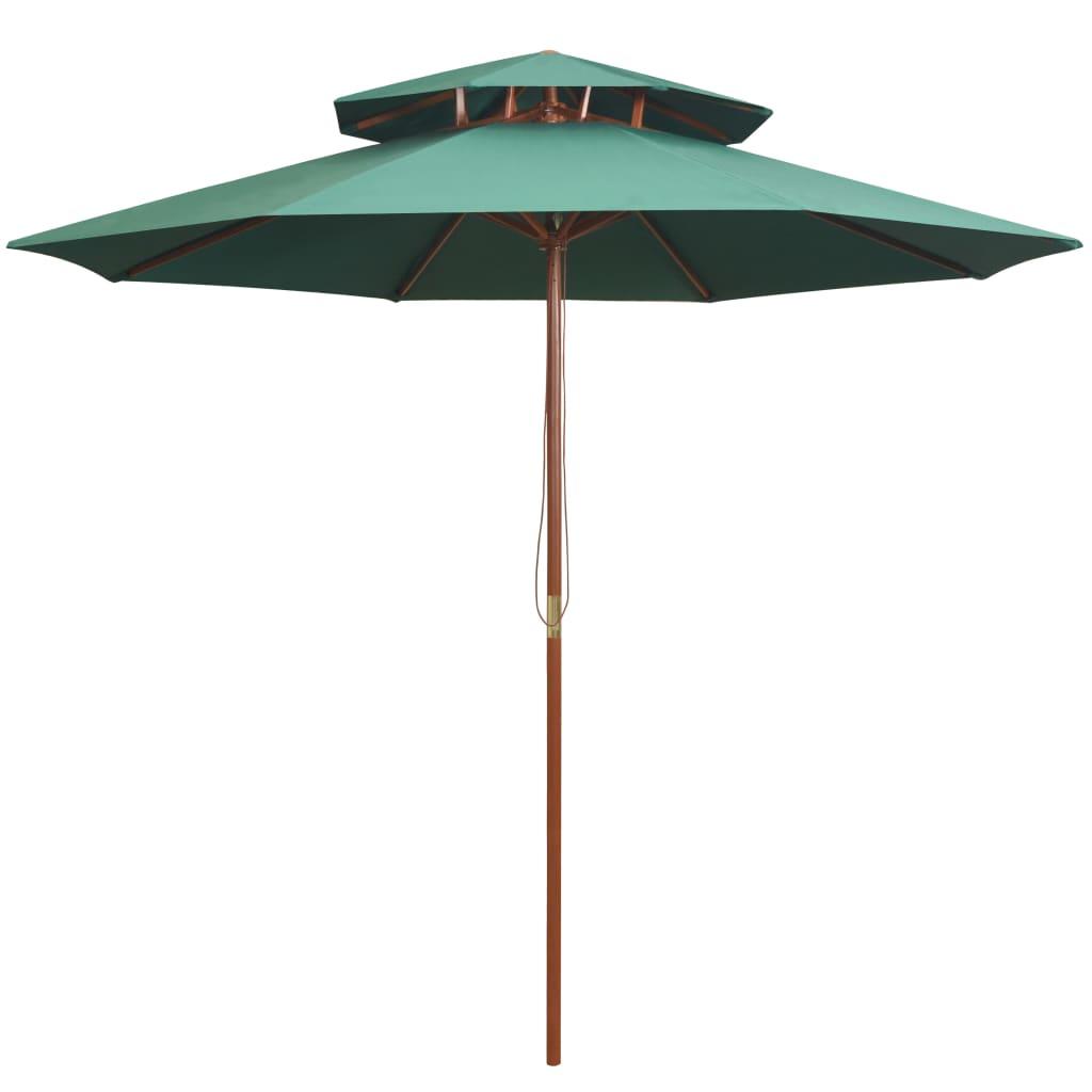 vidaXL Umbrelă de soare dublă, 270x270 cm, stâlp de lemn, verde imagine vidaxl.ro