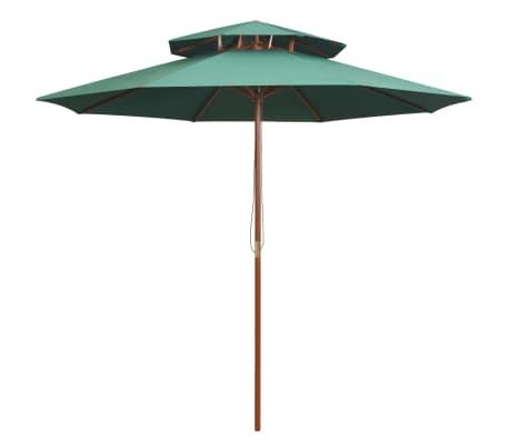 vidaXl Dubbeldekker parasol 270x270 cm houten paal groen