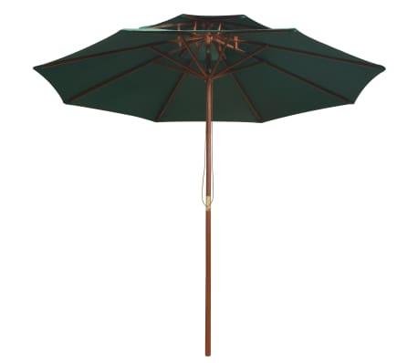 vidaXL Skėtis nuo saulės, dvigub. stog., 270x270cm, med. kotas, žalias[2/6]
