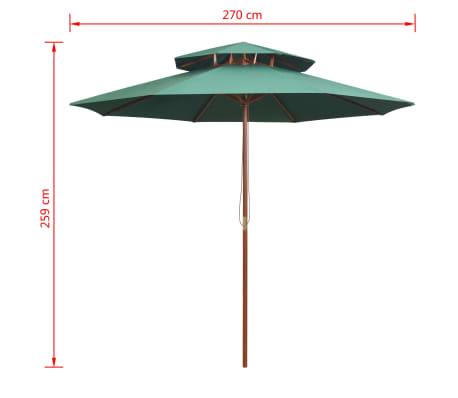 vidaXL Skėtis nuo saulės, dvigub. stog., 270x270cm, med. kotas, žalias[6/6]