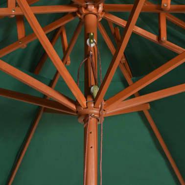 vidaXL Skėtis nuo saulės, dvigub. stog., 270x270cm, med. kotas, žalias[5/6]