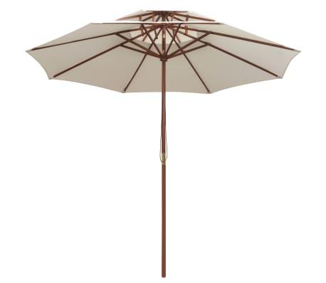 vidaXL Skėtis nuo saulės, dvig. stog., 270x270cm, med. kotas, balkšvas[2/6]