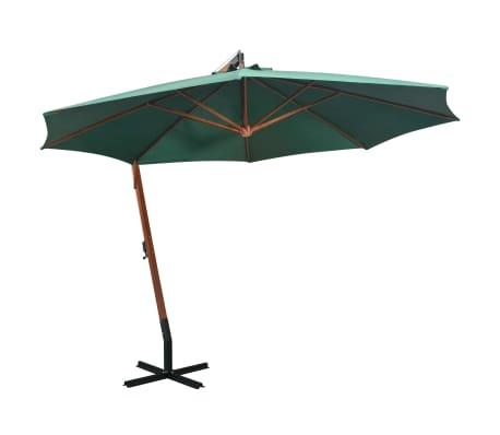 vidaXL hængende parasol 350 cm træstang grøn[1/9]