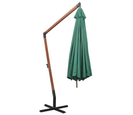 acheter vidaxl parasol 350 cm poteau en bois vert pas cher. Black Bedroom Furniture Sets. Home Design Ideas