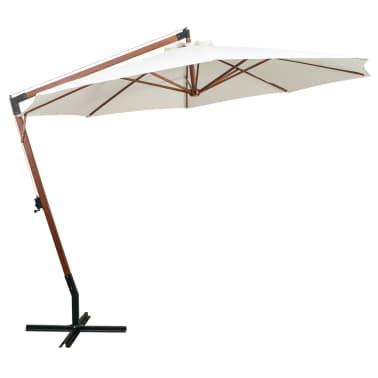 vidaxl sonnenschirm ampelschirm 350 cm holzmast wei g nstig kaufen. Black Bedroom Furniture Sets. Home Design Ideas