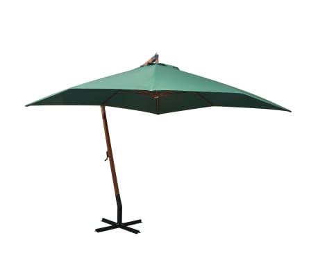 vidaXL Umbrelă de soare suspendată, stâlp de lemn, 300x300 cm, verde