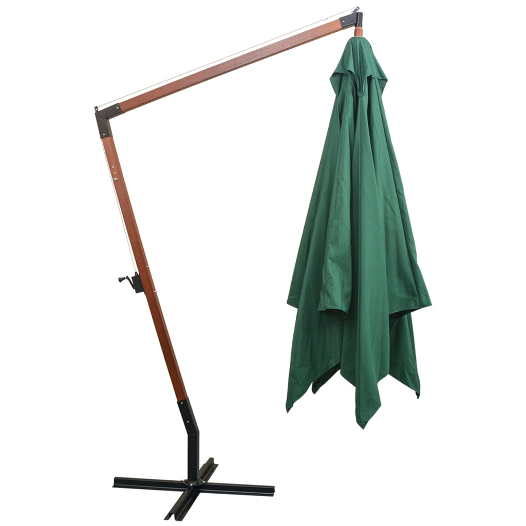 parasol 3x3m poteau en bois de jardin patio terrasse avec m canisme manivelle ebay. Black Bedroom Furniture Sets. Home Design Ideas
