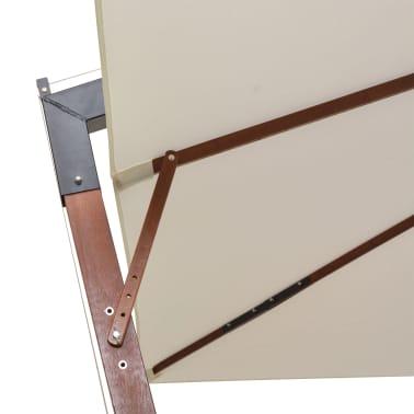 vidaXL Zweefparasol met houten paal 300x300 cm wit[6/8]