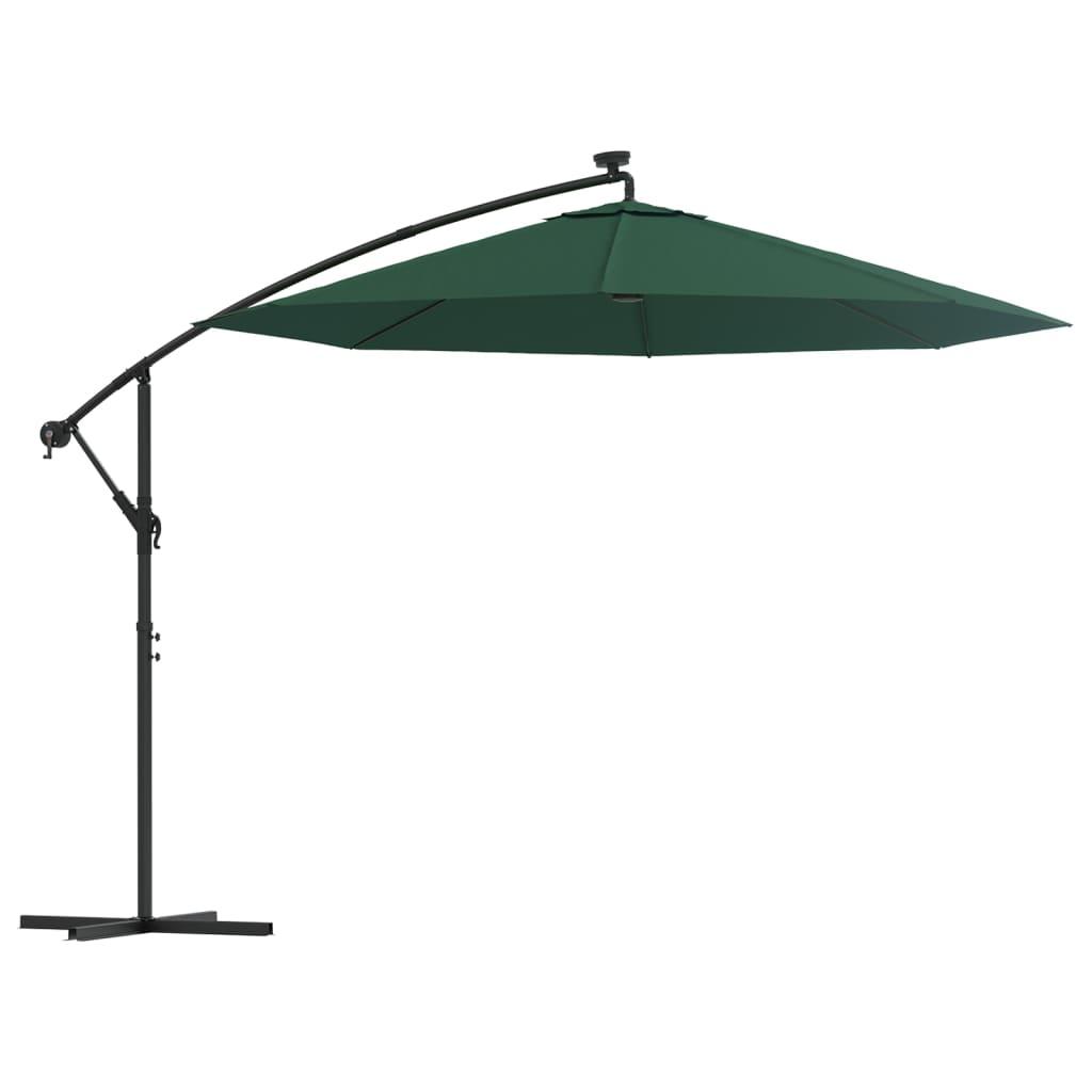 vidaXL Ομπρέλα Κρεμαστή με LED Πράσινη 300 εκ. με Μεταλλικό Ιστό