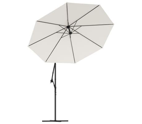 vidaXL hængeparasol med LED-belysning 300 cm sandfarvet metalstang[4/13]