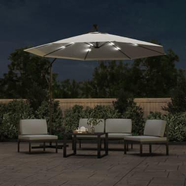 vidaXL hængeparasol med LED-belysning 300 cm sandfarvet metalstang[2/13]