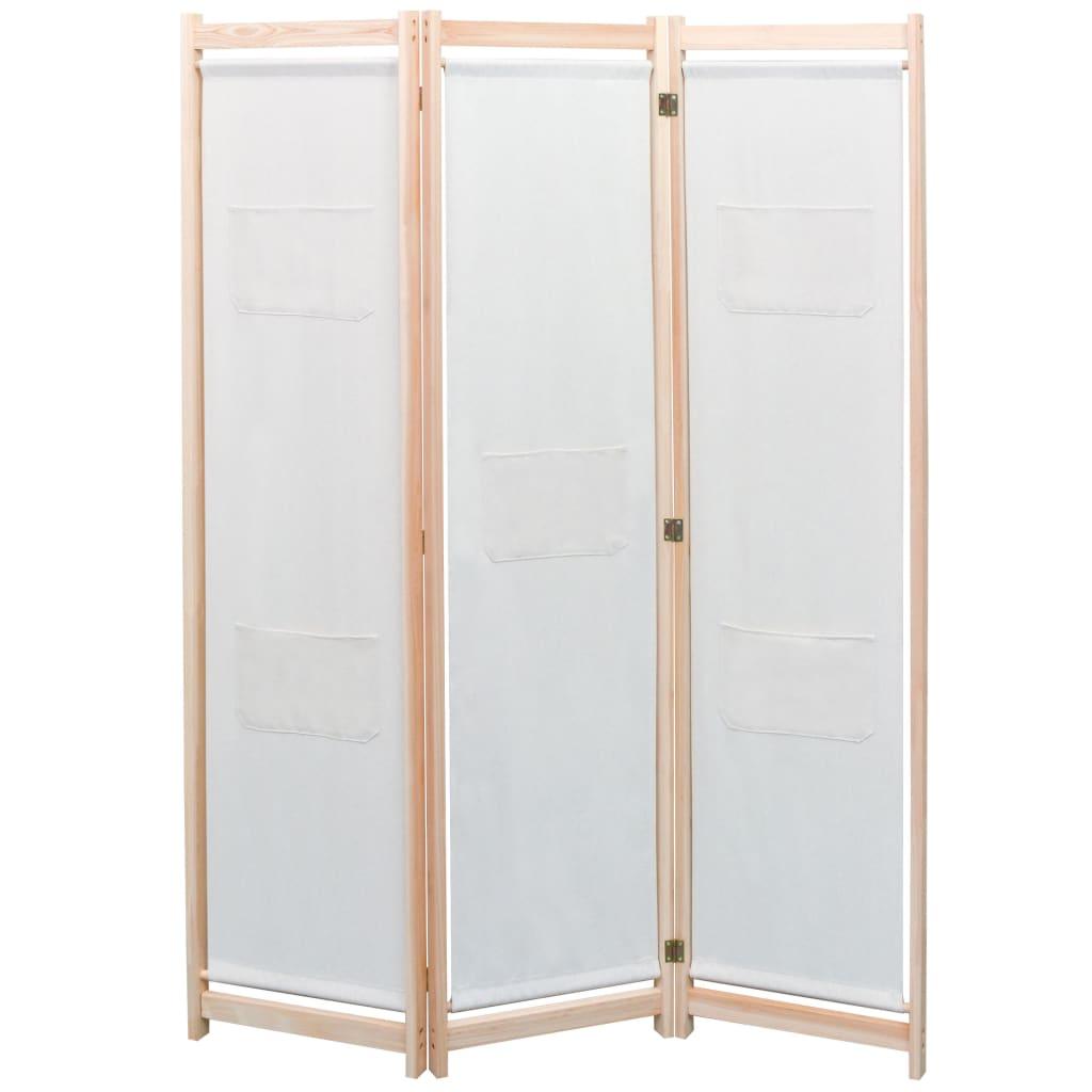 3dílný paraván krémový 120 x 170 x 4 cm textil