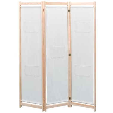 vidaXL 3-Panel Room Divider Cream 120x170x4 cm Fabric[1/5]