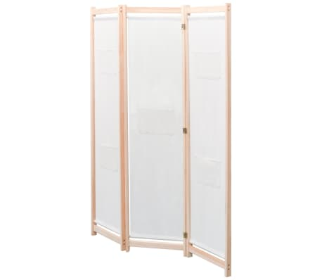 vidaXL 3-Panel Room Divider Cream 120x170x4 cm Fabric[2/5]