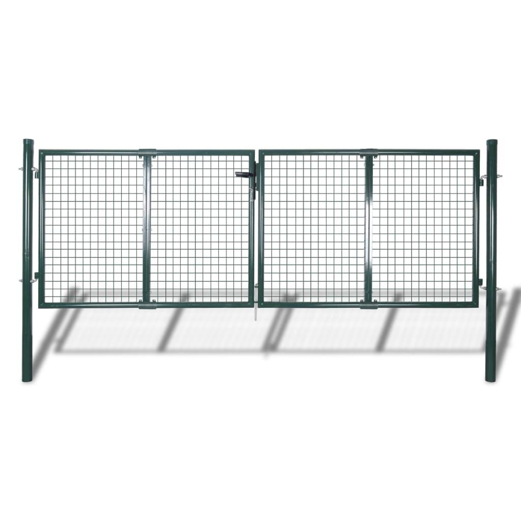 vidaXL Cancello in Acciaio 306x150 cm Verde