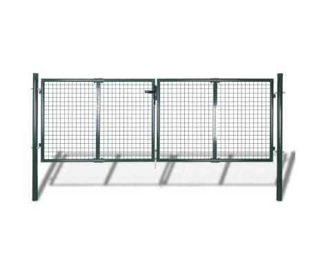 vidaXL Portail de clôture Acier 306x150 cm Vert