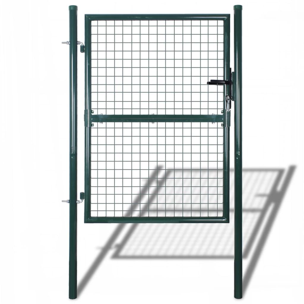 vidaXL Poartă de gard din oțel, verde, 100 x 250 cm vidaxl.ro