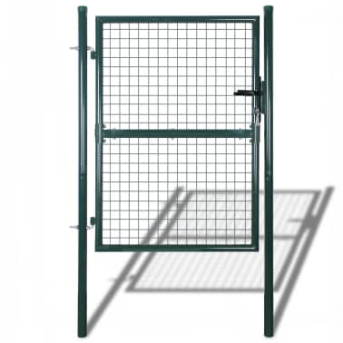 "vidaXL Garden Fence Gate 33.7""x78.7""/39.4""x98.4"" Steel Green[1/7]"