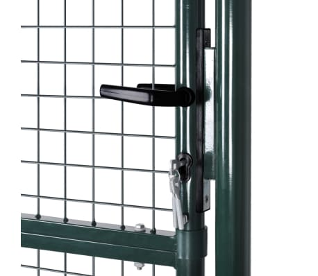 "vidaXL Garden Fence Gate 33.7""x78.7""/39.4""x98.4"" Steel Green[4/7]"
