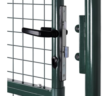 "vidaXL Garden Fence Gate 33.7""x78.7""/39.4""x98.4"" Steel Green[5/7]"