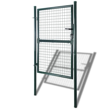 "vidaXL Garden Fence Gate 33.7""x78.7""/39.4""x98.4"" Steel Green[2/7]"