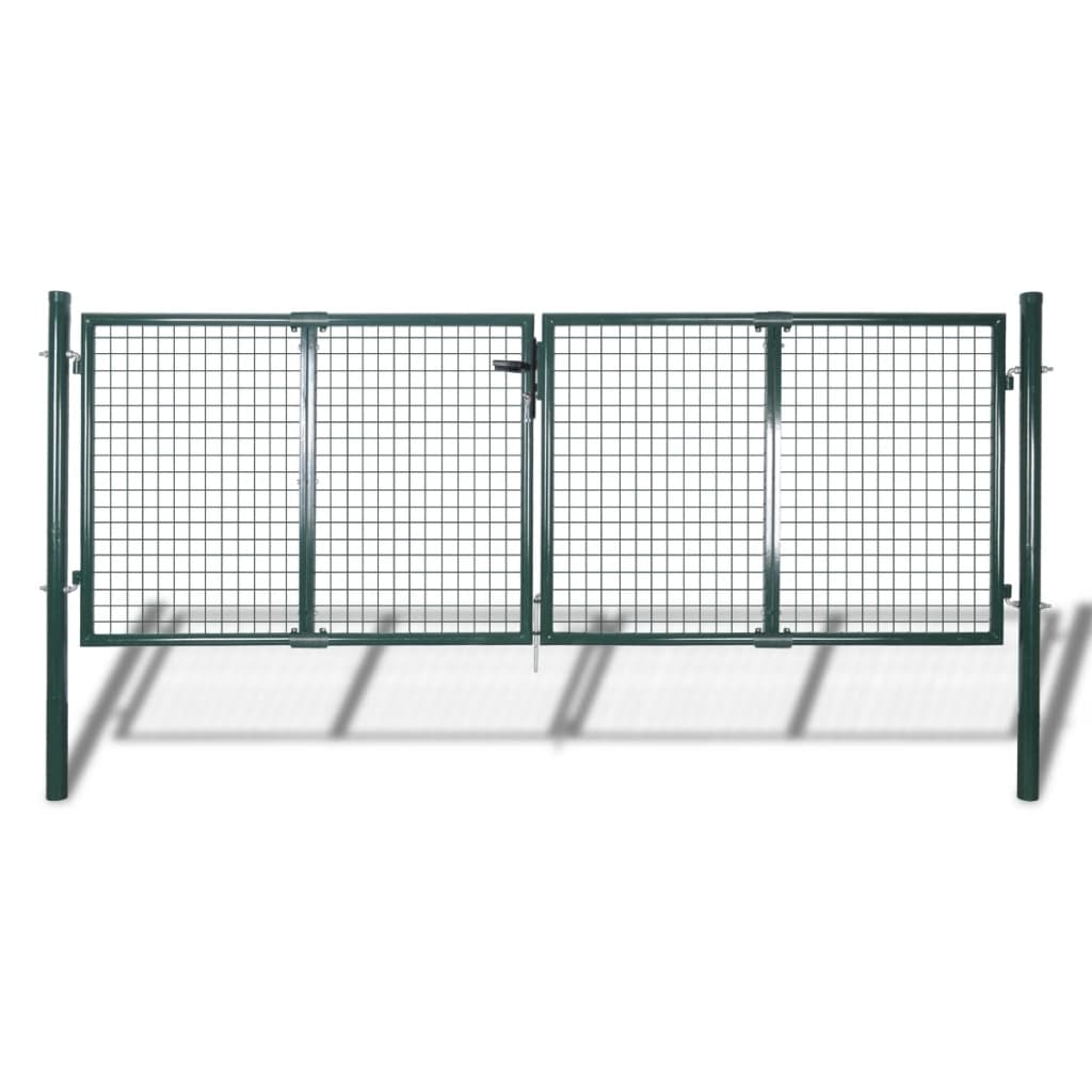 vidaXL Poartă de gard din oțel, verde, 306 x 175 cm vidaxl.ro